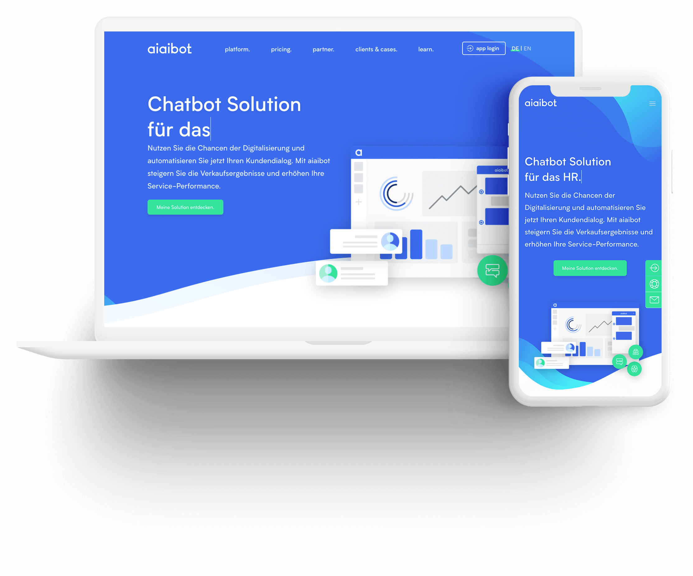 Laptop and smartphone monitor with AIAIBOT homepage